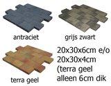 vlaksteen 20x30x6cm en 20x30x4cm antraciet, terrasgeel, grijs-zwart